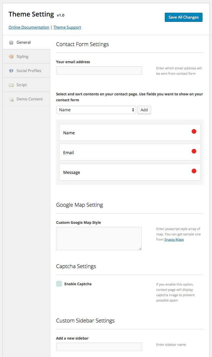Theme Setting > General for contact form settings, google map, captcha and custom sidebar